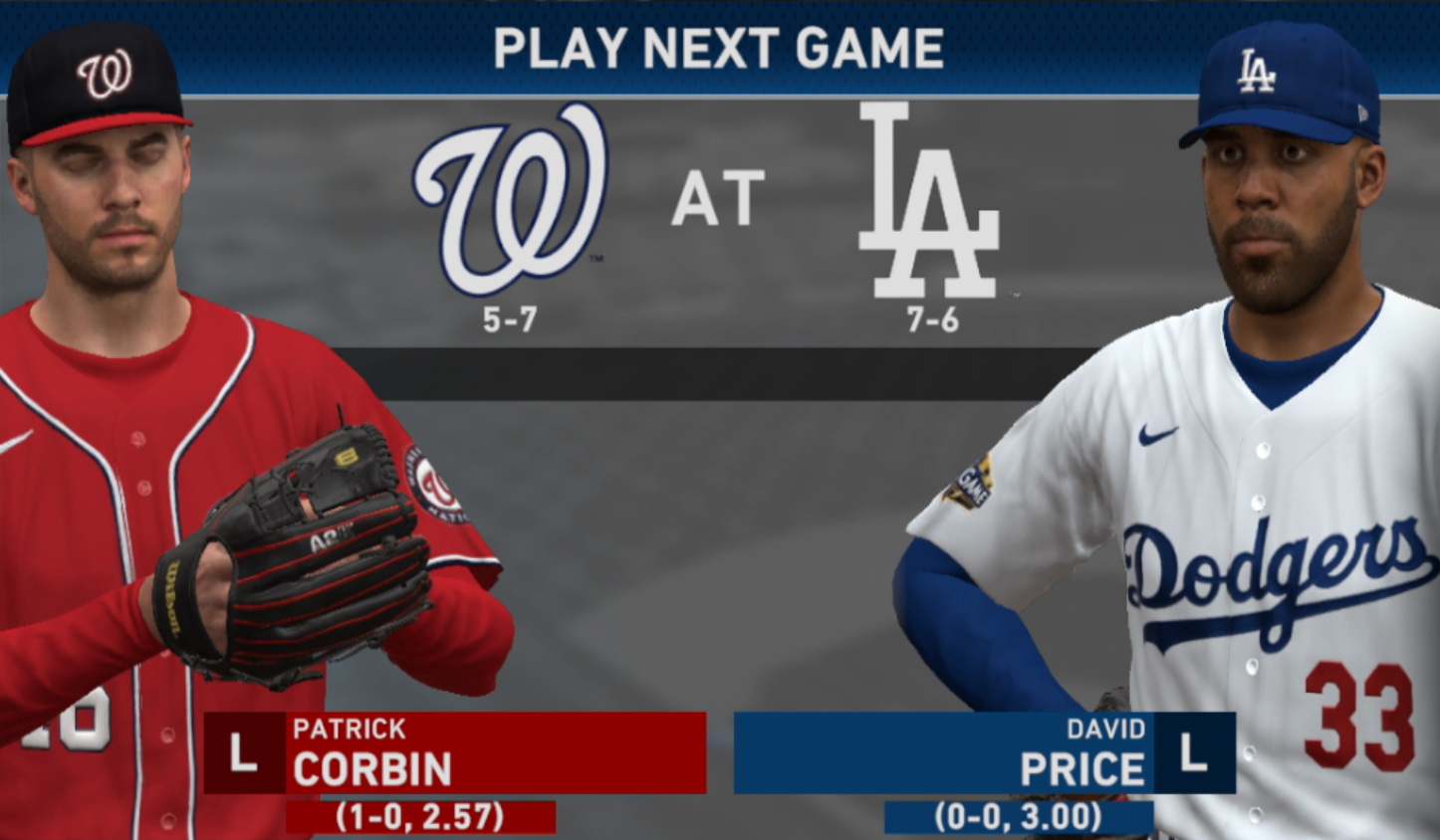 Nacionais vs. Dodgers | Corbin vs. David Price | Desafie o seu tiro | Temporada Virtual 2020 na MLB the Show 1